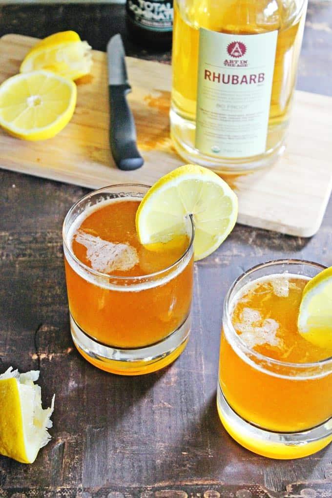 RHUBARB lemon shandy cocktail // Rhubarbarians
