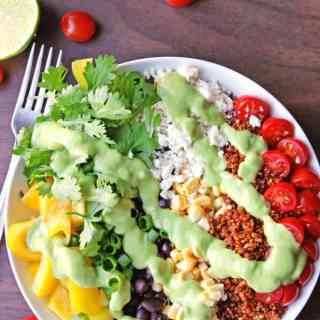 Southwest quinoa salad with green chile avocado dressing