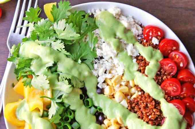 Southwest quinoa salad with green chile avocado dressing