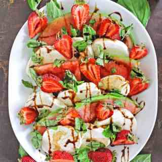 Strawberry watermelon caprese salad // Rhubarbarians