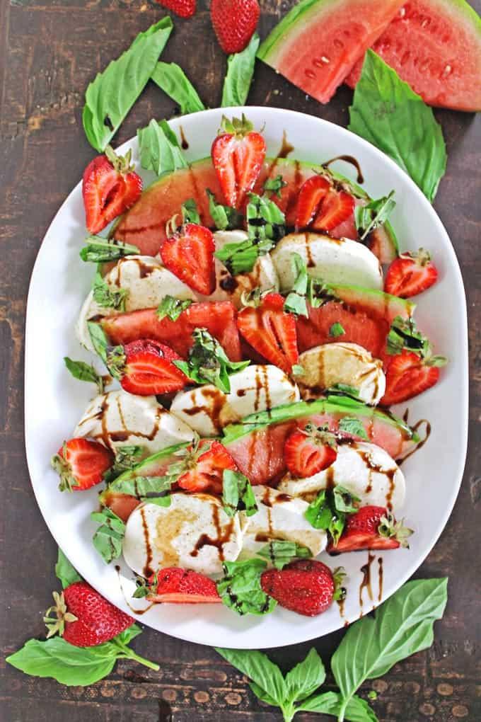 Strawberry watermelon caprese salad // Rhubarbarians