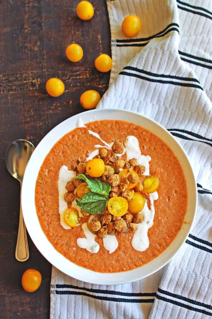 Tomato gazpacho with crispy falafel chickpeas recipe! Cold, refreshing, vegan friendly, gluten free. The perfect summer meal!