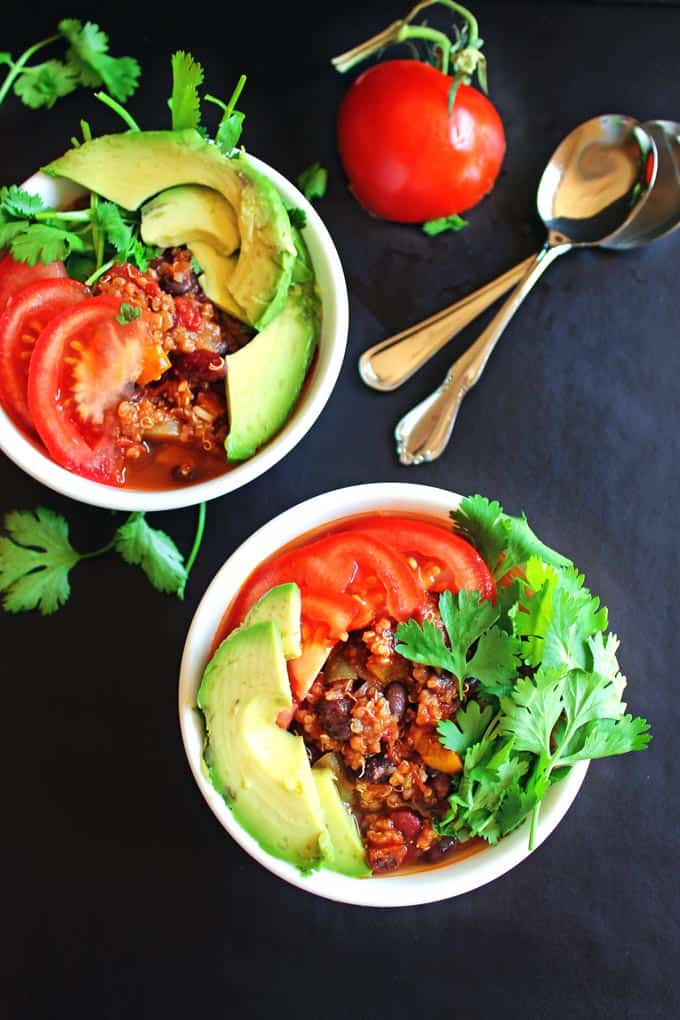 This 3 chile quinoa chili is super healthy and packed full of flavor! Hatch chiles, jalapeno chiles, and polano chiles make this vegetarian chili a must make!