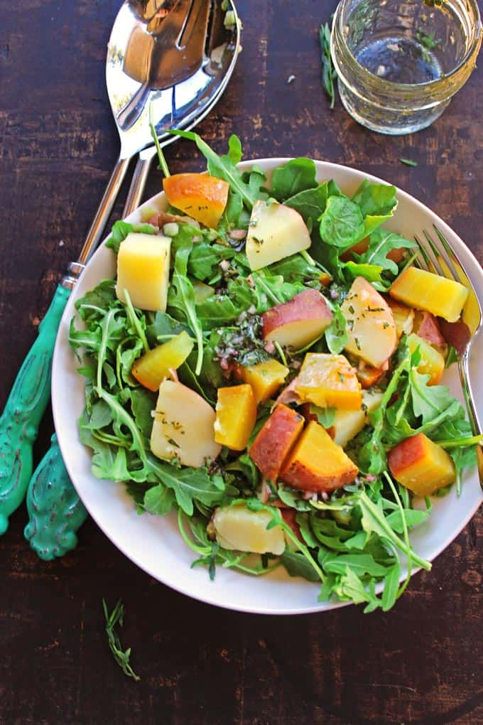 Golden beet, potato, and arugula salad with tarragon vinaigrette (vegan, gluten free). A Delicious, hearty, healthy salad that comes together in only 15 minutes!