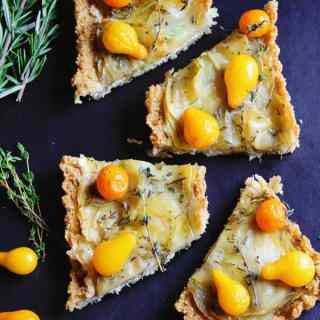 Potato tart with chevre, tomato, and quinoa crust