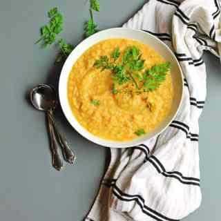 Creamy sweet potato carrot soup