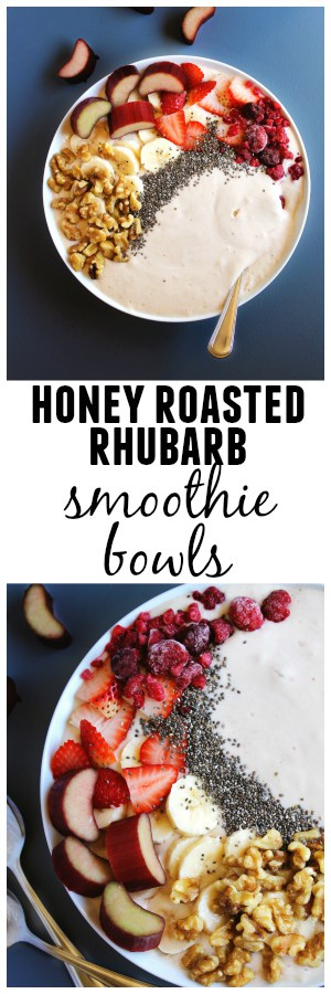 Honey roasted rhubarb smoothie bowls recipe! Tart rhubarb is roasted in sweet honey, then blended with yogurt and topped with all the smoothie bowl fixins. Such a healthy and beautiful breakfast! Vegetarian, gluten free, refined sugar free.