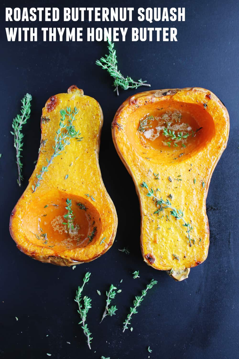 Simple roasted butternut squash with thyme honey butter recipe! The most perfect and delicious Fall side dish. Enjoy as is, or easily mash for tasty mashed squash. SO GOOD!