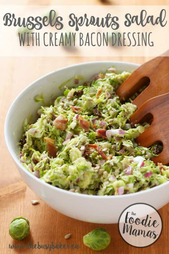 Brussels sprouts salad with creamy bacon dressing + 14 amazing holiday side dishes! Amazing holiday side dish recipes from your favorite food bloggers, The Foodie Mamas!