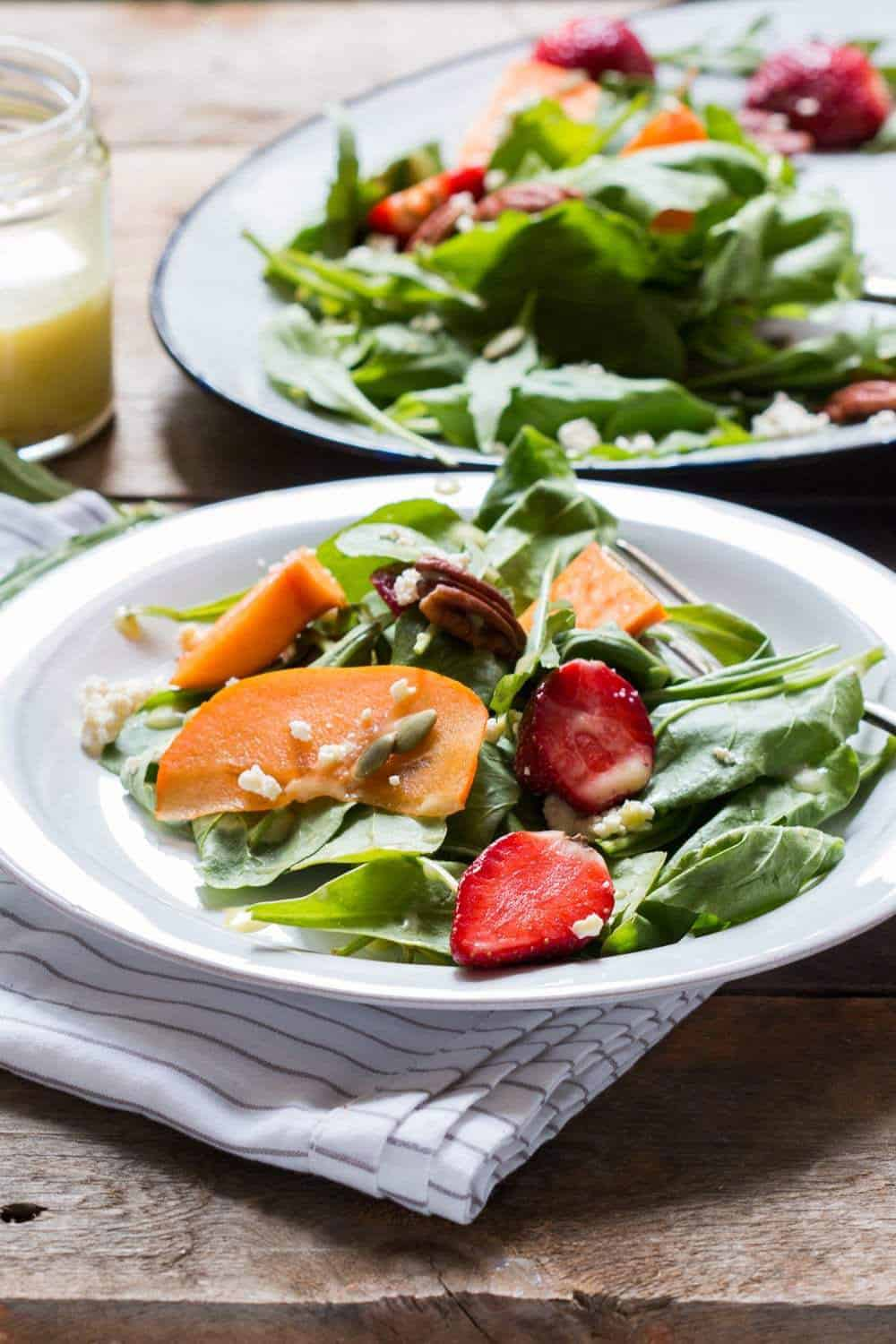 Persimmon ricotta salad + 15 Farmers market recipes to try this November! Delicious, autumn recipes made with fresh, seasonal produce from your local farmers market or CSA bin. Eat local!