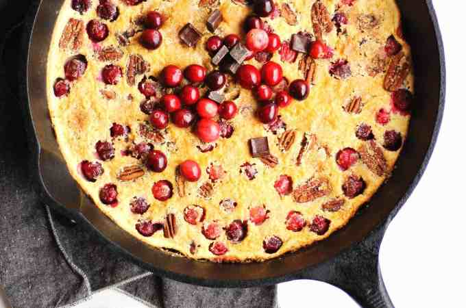 Cranberry clafoutis with dark chocolate and pecans