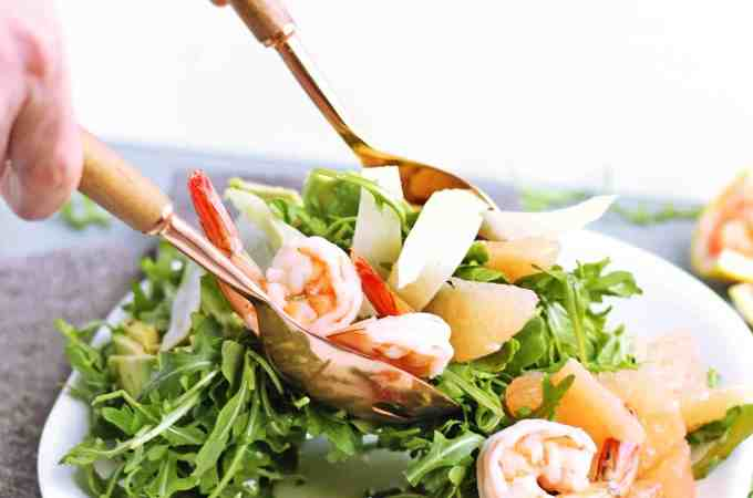 Grapefruit arugula salad with avocado and shrimp