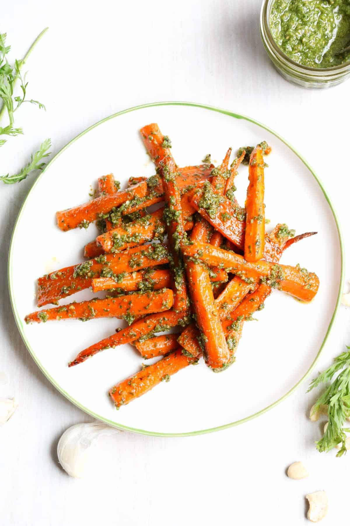 Cashew carrot top pesto with roasted carrots