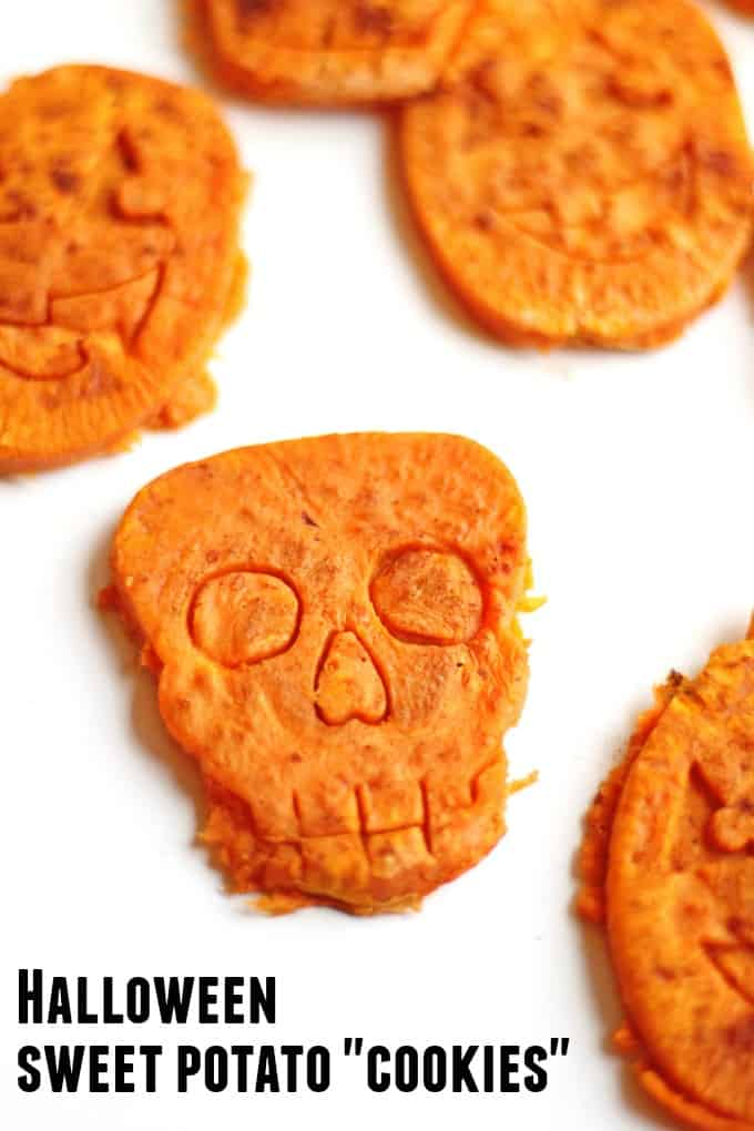 """Halloween sweet potato """"cookies"""" recipe! Your kids will love these roasted sweet potato bites cut into Halloween shapes. Only 3 healthy ingredients. Try them out with other root veggies for more healthy Halloween snacks! // Rhubarbarians.com #halloweenrecipes #sweetpotatorecipes #toddlerrecipes #healthykidsrecipes #toddlerfood"""
