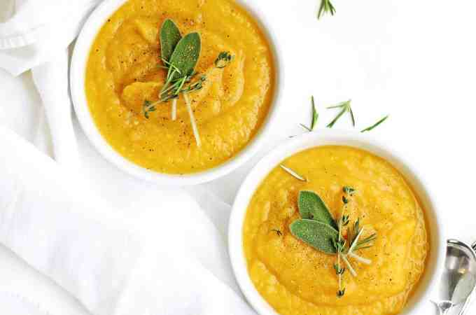 Golden potato and butternut squash leek soup