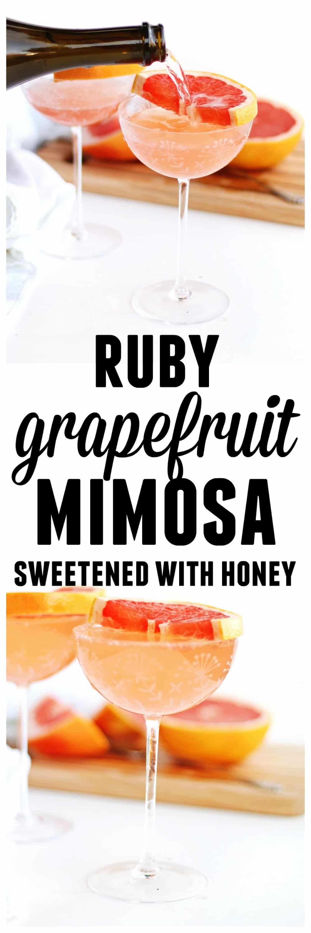 A sparkling ruby red grapefruit mimosa with honey! Naturally sweetened and only 3 ingredients. Your new favorite brunch cocktail! // Rhubarbarians / champagne / #mimosa #grapefruit #brunch #cocktail #champagne
