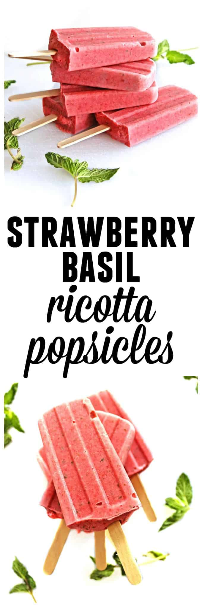 Sweet meets savory strawberry ricotta popsicles! Sweet strawberries, herby basil, and savory ricotta cheese make these pops super unique and healthy. YUM! // Rhubarbarians
