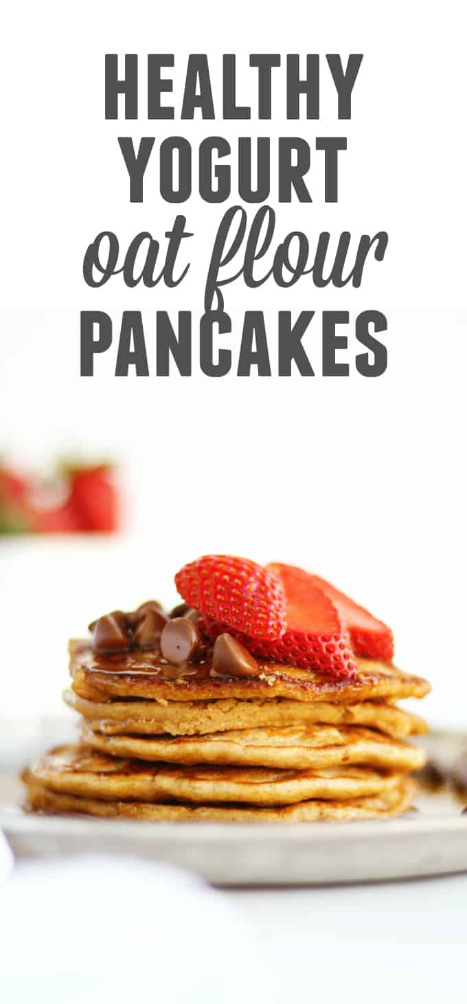 Healthy yogurt oat flour pancakes recipe! These light and fluffy, gluten free pancakes will fill you up with protein and fiber and satisfy that sweet breakfast craving. // Rhubarbarians