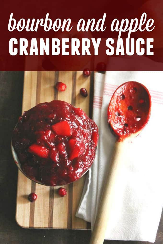 Easy apple cranberry sauce with bourbon and cinnamon recipe! This homemade cranberry sauce is elevated with sweet apple and a touch of bourbon. // Rhubarbarians