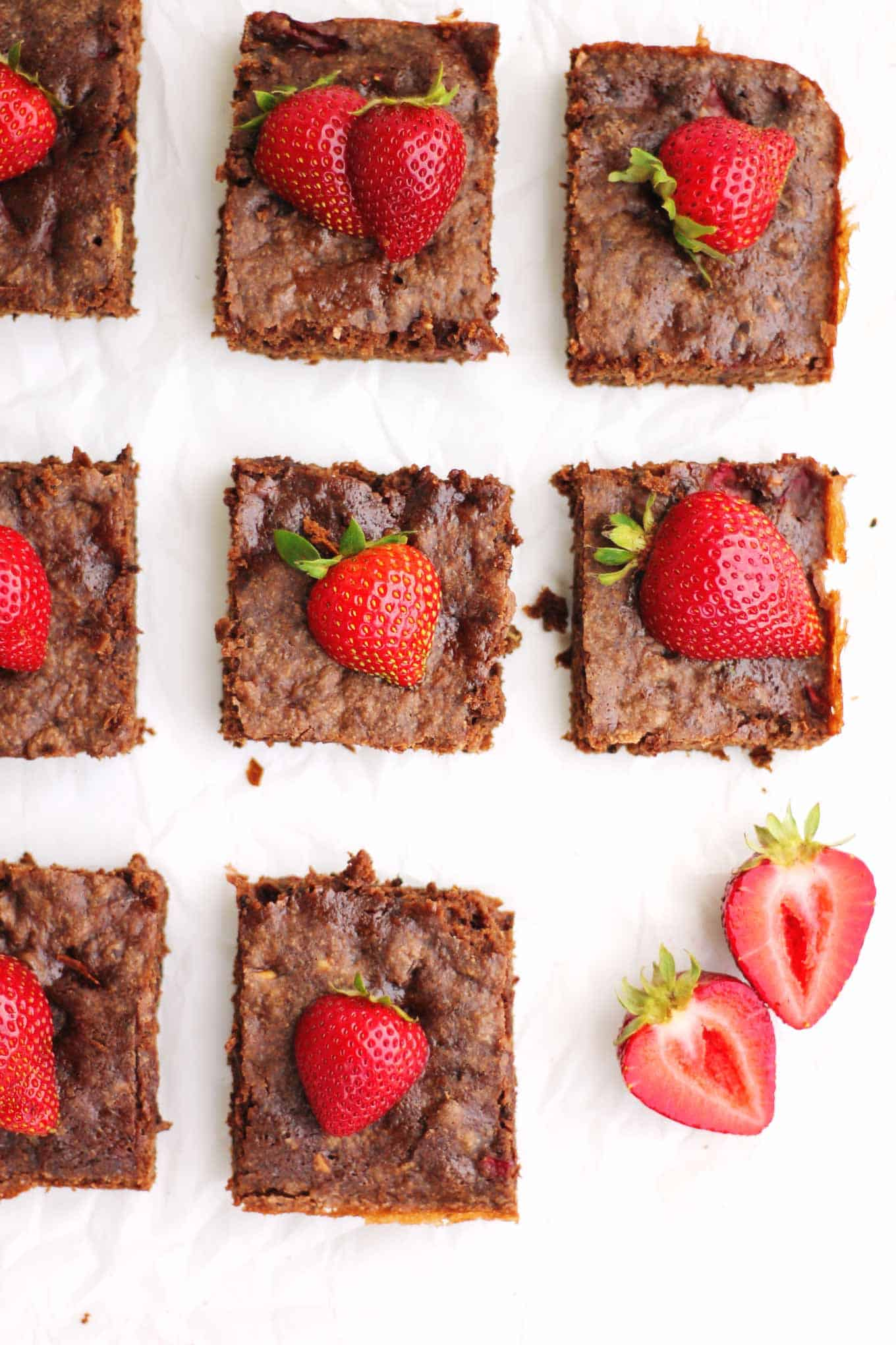 Chocolate fudge vegan brownies recipe! Made even sweeter with strawberries and sea salt. From The Wicked Healthy cookbook. // Rhubarbarians