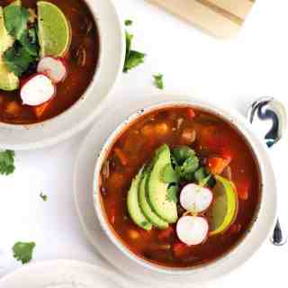 Easy vegan posole with black beans and poblanos