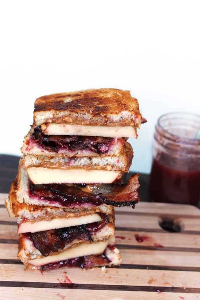 Stacked grilled peanut butter and jelly sandwich