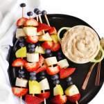 fruit kabobs with yogurt dip