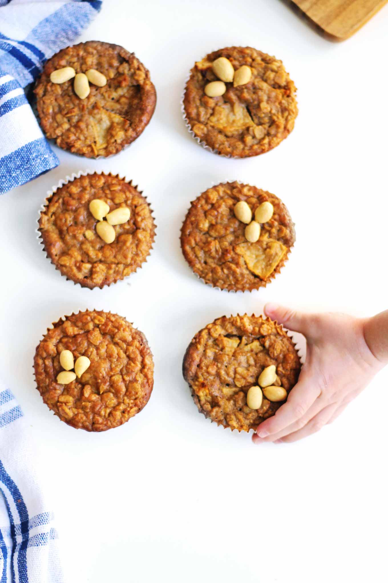 grab and go oatmeal muffins with toddler hand