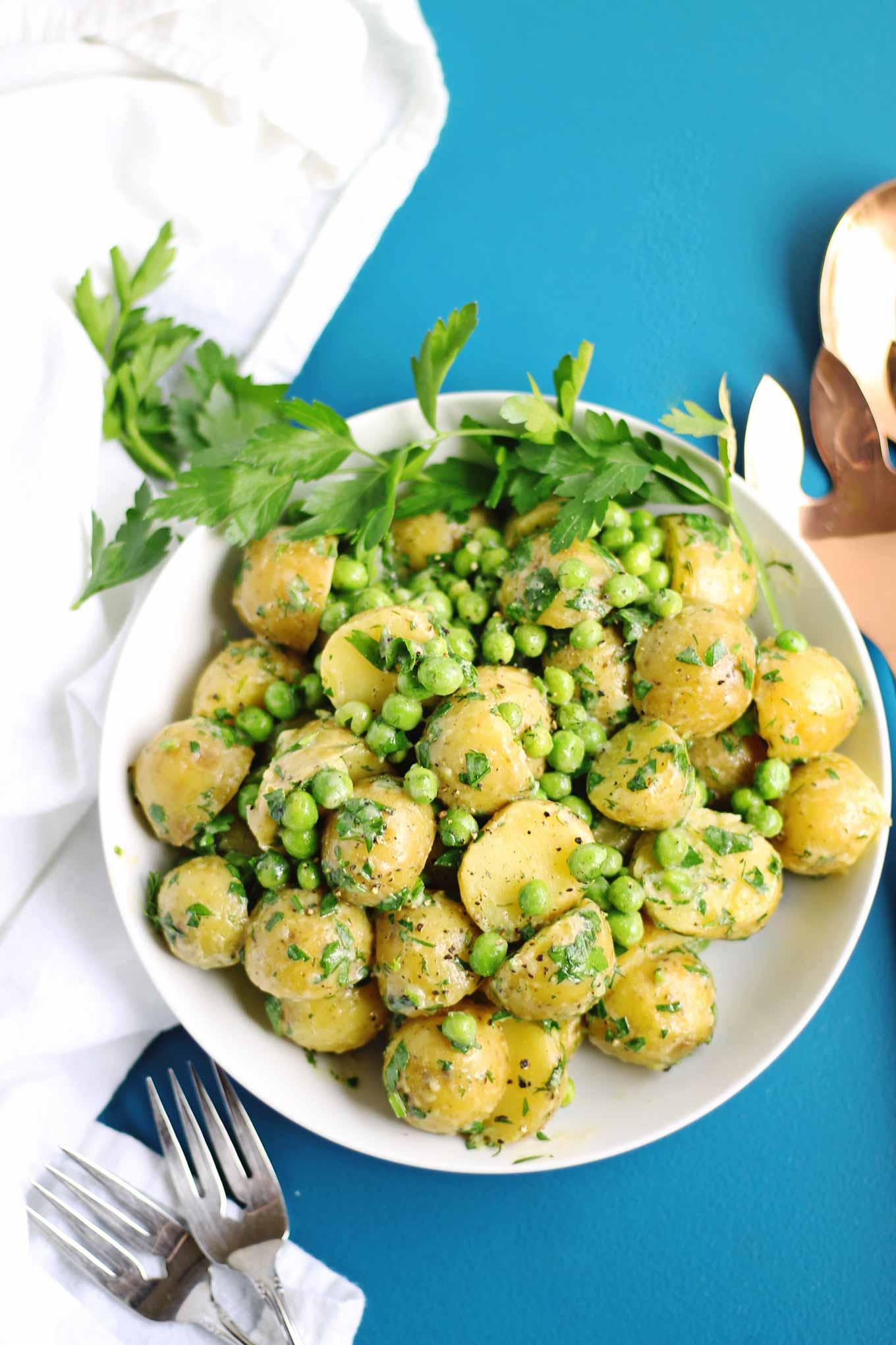 vegan potato salad with peas