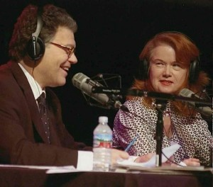 Karen with Al Franken during a 2005 radio broadcast.