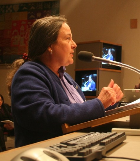 Cherie Rodgers testifying before the city council in 2008,