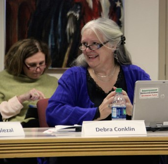 Commission member Pastor Debra Conklin, who chaired last night's meeting.