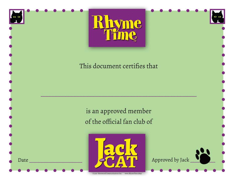 Jack the Cat - Official Fan Club Certificate