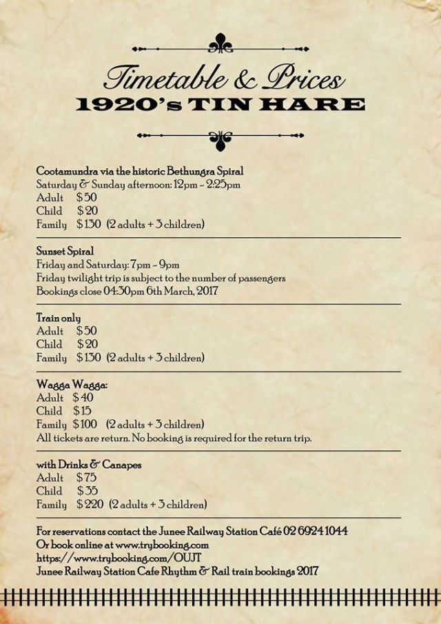 Tin Hare Timetable and Prices