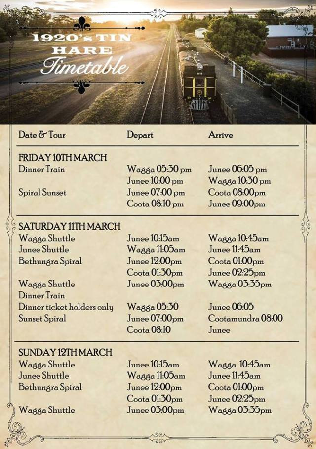 Tin Hare Timetable