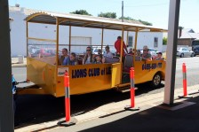Passengers take a ride on the Lions Train