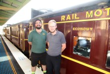 Train Drivers Sam & Ben with the Tin Hare at Junee Station