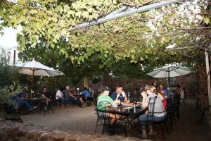 Relaxing in the courtyard at the Junee Licorice and Chocolate Factory over the Rhythm n Rail Festival weekend