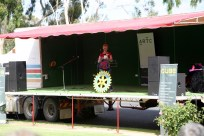 Trish Davies from Rotary announcing the winners of the Gnome Competition