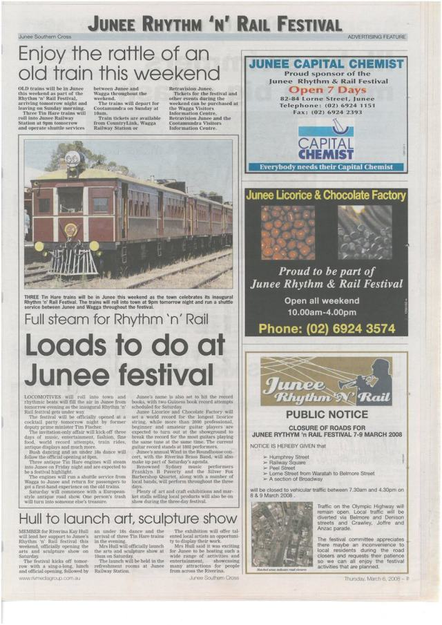 Junee Rhythm 'n' Rail Festival Advertising Feature