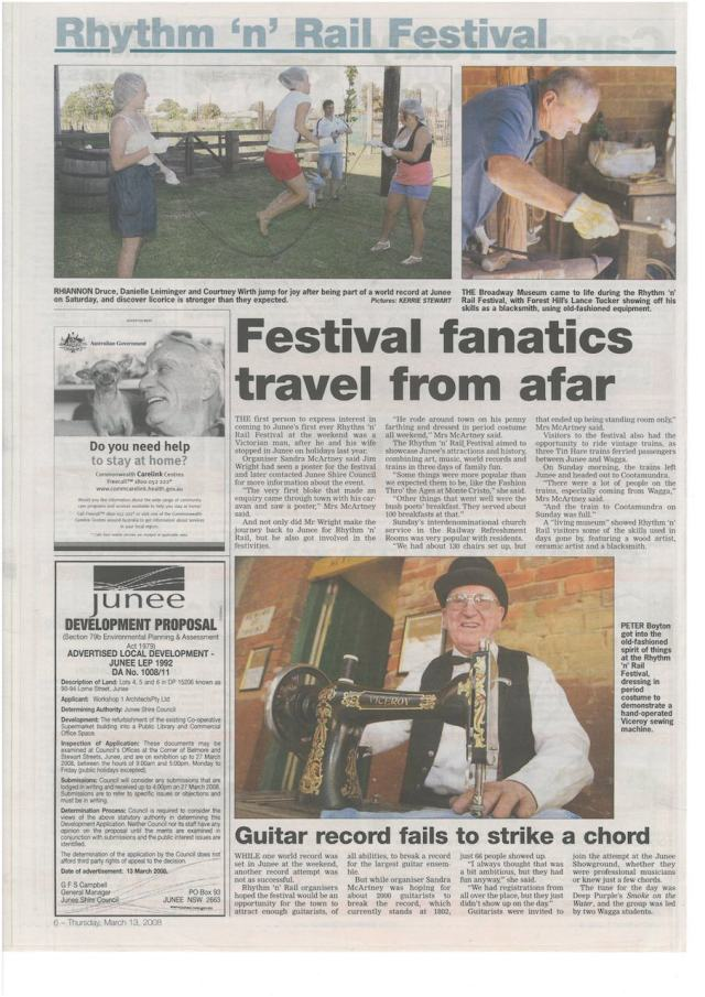 Coverage of 2008 Junee Rhythm 'n' Rail Festival