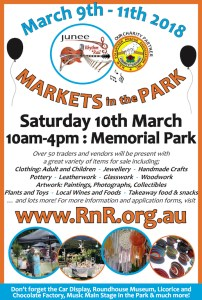 Advertisement promoting the 2018 Rhythm n Rail Markets in the Park