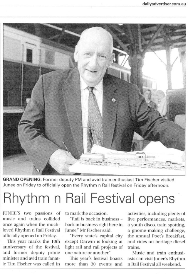 Rhythm n Rail Festival Opens - as appeared in the Wagga Weekend Advertiser 11 March, 2018