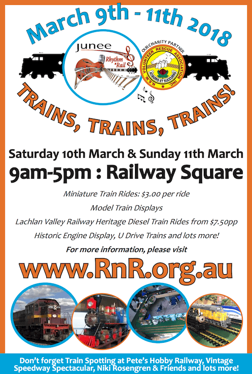 Advertisement promoting 2018 Junee Rhythm n Rail Festival Rail Precinct, appeared in the March 2, 2018 issue of Your Local Wagga Weekly