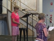 Yvonne Forsyth and Carole Windsor conducting the service at the Junee Combined Church Service, held in the Athenium Theatre