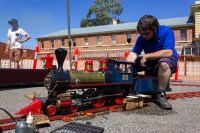 Dennis working on the Verginia Miniature Steam Locomotive from Mincher Railway