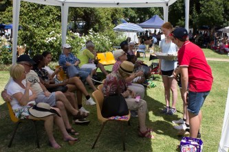 Relaxing in the shade at the Main Stage at the Festival Markets