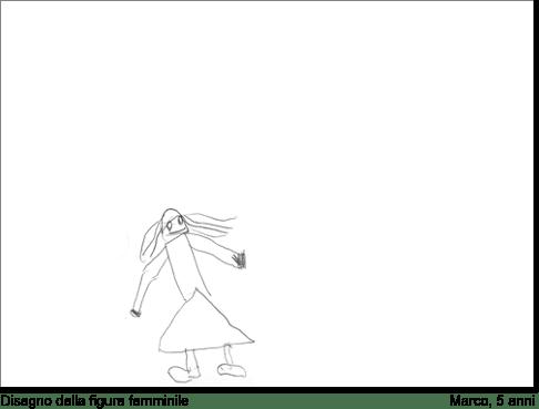 Marco, 5 anni, disegna una donna