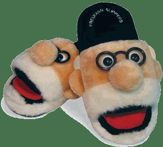 Morbide pantofole decorate con una caricatura di Freud