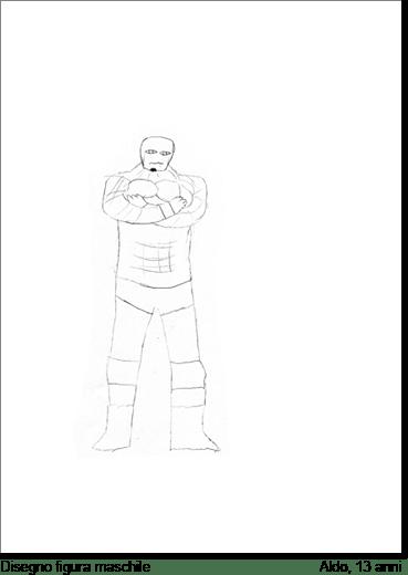 Aldo, 13 anni, nel disegnare un personaggio maschile che dice essere l'immagine fantasiosa che ha di sé stesso: si fascia in una maschera e non fa emergere nulla del suo vero corpo.